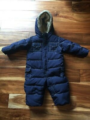 Baby GAP Down Puffer Winter Snowsuit One-Piece Romper Navy 18-24 Months