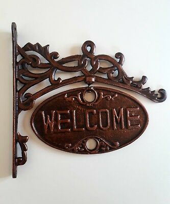 Rose Gold Copper Welcome Sign Cast Iron Solid Metal Heavy Wall Mounted