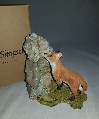 *seller away* Country Artists- Sherratt And Simpson- Fox With Waterfall Figurine