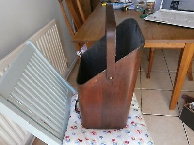 Rare Retro,mid century Bent wood coal scuttle. would make a great wastepaper bin