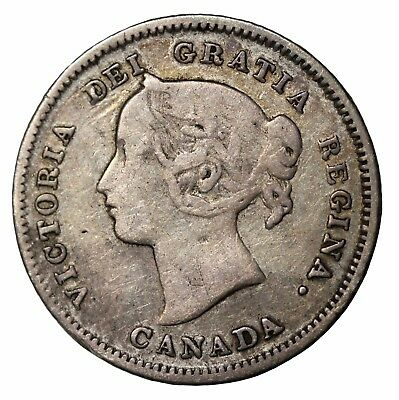 1900 Canada Five 5 Cents Oval 0's Queen Victoria Canadian Silver Coin KM#2