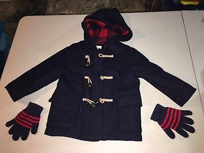 Gap Boys Baby Toddler Toggle Duffel Pea Coat in Navy Blue Size 3T + Free Gloves