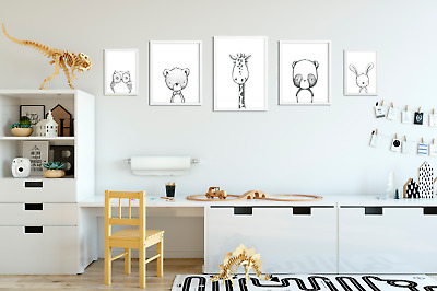 Set of 5 Neutral Nursery Prints / Pictures for Baby Room / Playroom / Bedroom