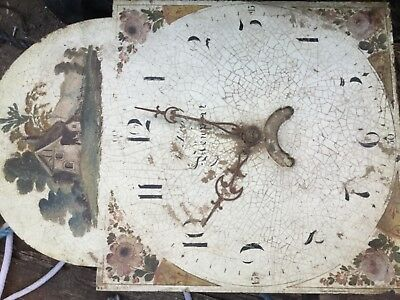 clock face with some workings, with picture of house