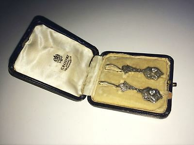 rare imperial Russian 84 Silver Earrings with Fianit stone Faberge design