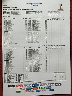 World Cup Official Colour Fifa Teamsheet Columbia V Japan 19-06-2018