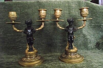 Pair Of Clodion French Empire Bronze  Candelabra / 2 Light Candlesticks