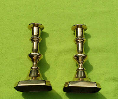 Antique 19th Century Pair of Brass Candlesticks with Push-ups