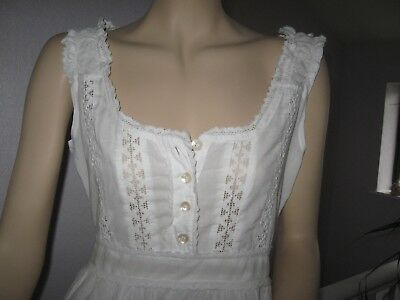 vintage white lace embroidered dress Lagenlook hippy boho Victorian style  12