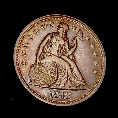 1848 Seated Dollar Almost No Wear 15K Mint Rare US Silver Coin $1 Liberty Toned