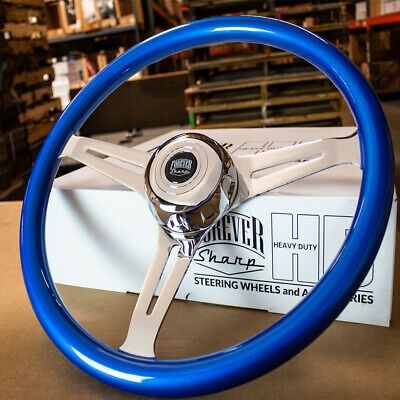 """18"""" Chrome Steering Wheel with Sky Blue Grip and Horn for Semi-Trucks -5 Hole"""