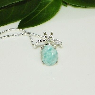 10x8 Oval Genuine Larimar Sterling Silver Pendant w/Chain Necklace (#30)
