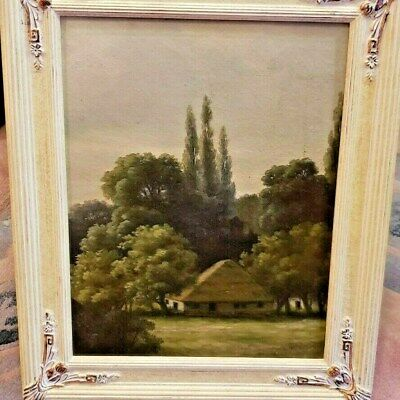 ANTIQUE Germany School 19th CENTURY OIL PAINTING NO SIGNED LANDSCAPE VILLAGE.