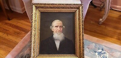 Antiqu 19th Century American Folk Art Portrait Old Man Oil on Canvas Painting #2
