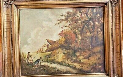 Antique 19th Oil Painting Canvas L. Doriat French Impressionist Landscape #1.