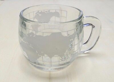 Nestle Vintage Clear Glass with White Frosted World Globe Map Mug Cup 1970's