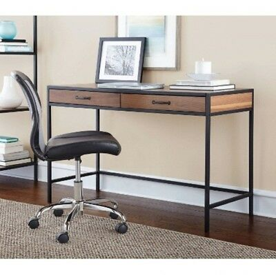 Rustic Metro Desk Console Table Workstation Home Office Deluxe Modern Wood Metal
