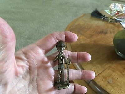 Vintage African Figurine Bronze Figurine With Pipe