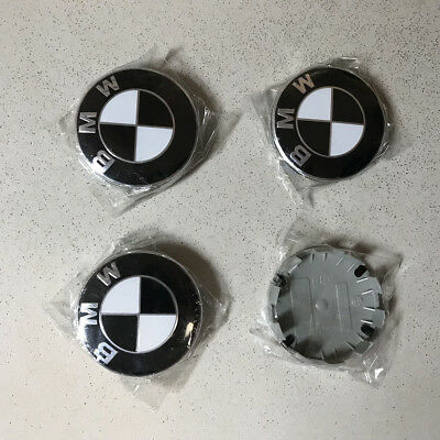 4x For BMW 1 3 5 6 7 Wheel Center Cap Rim Hub Emblem Cover Logo Badge Black 68MM