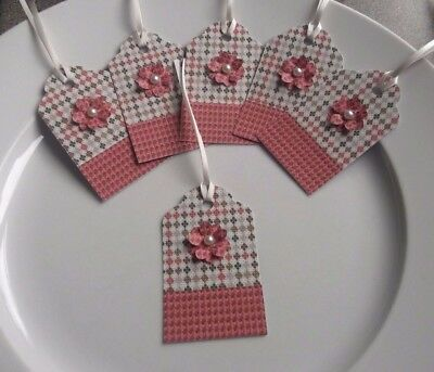 Set of 6 Handmade Red Flower Christmas Gift Tags Labels Party Birthday Xmas