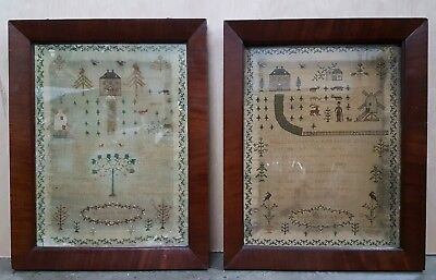 Pair of Antique Needlework Samplers by Sisters - Wood family