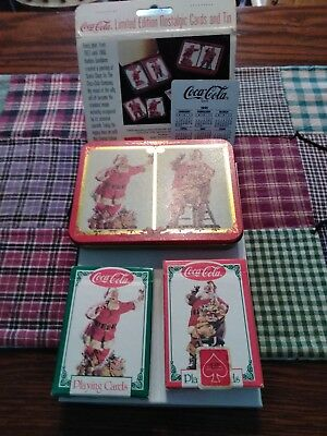 Coca Cola playing cards, 2 decks in tin, Santa Clause
