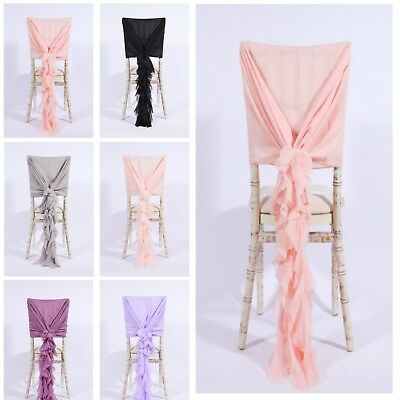 Luxury Chiffon Hoods With Ruffles Decor Chair Cover Sash Wedding Party Events