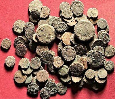 Lot of 100 Ancient Roman Bronze Fragment Coins, AE3, AE4 #20