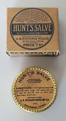 Early Unopened A.b. Richards Med. Co. Sherman Texas Hunt'S Salve Medicine Tin