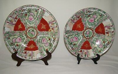 Two Large Vintage Chinese Rose Medallion Charger Plates