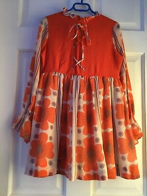 Vintage little girl Toddler Dress Orange Purple White Flowers Size 6 Cinderella