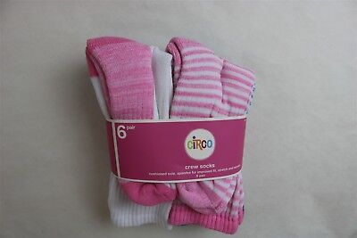 LOT OF 6 PAIR CIRCO Girl's Cushioned Sole Striped Crew Socks - PINK BLUE - 3-10