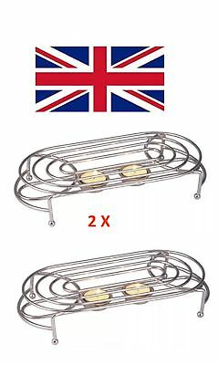 2 X Food Dish Warmer Chafing Chrome Plate Burner Heat Warm & 2 Free Candles