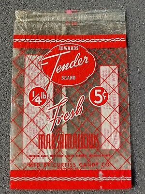 Vintage Edwards Tender Brand Fresh Marshmallows 5 Cent Wrapper Curtiss Candy Co