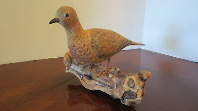 Carved Wood Dove Bird on Driftwood Burl Collectible Folk Art
