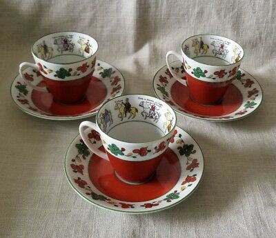 SET OF 3 Teacup and Saucer, The Wedding Procession, Porsgrund, Norway