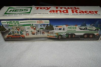 NEW in BOX 1991 Hess Toy Truck and Racer with WORKING LIGHTS AND BONUS!