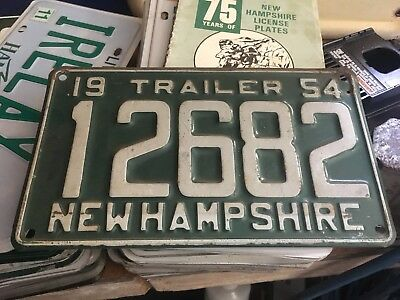 NEW HAMPSHIRE License Plate 1954 Trailer NH 12682