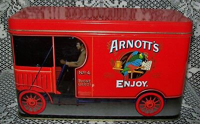 ARNOTT'S BISCUITS COLLECTABLE 'RED TRUCK' ASSORTMENT TIN c.1990s *empty*