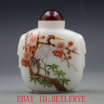Antique Chinese Glass Internal Hand-painted Crowned Crane Snuff Bottles