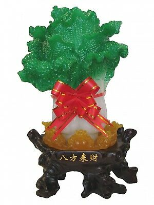"""Chinese Fengshui Green Cabbage Bok Choy Statue 5/""""5H x 4/""""5R"""