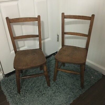 Vintage Pair Childs Kids Oak School Chapel Chairs, Set of 2, Antique, Solid Wood