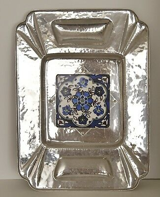 Art Deco Cellini Craft Hand Wrought Aluminum Handed Tray with Tile 19 x 14""