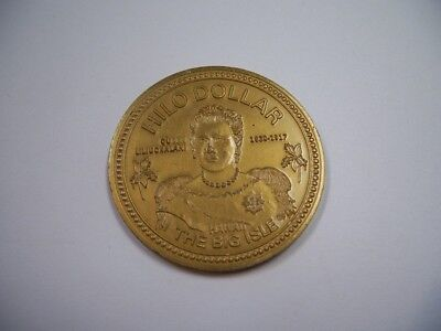 Hawaii The Big Isle Hilo Dollar Queen Liliuokalani Commemorative Coin Gold Tone.