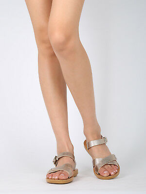 New Women PU Knotted T-Strap Slingback Flat Sandal 17868 By Qupid Collection