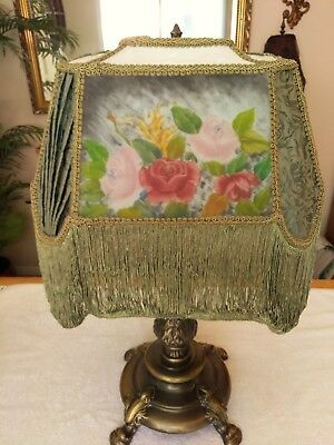 Victorian fabric brocade roses floral large lamp shade with fringe victorian fabric brocade roses floral large lamp shade with fringe wire frame greentooth Image collections