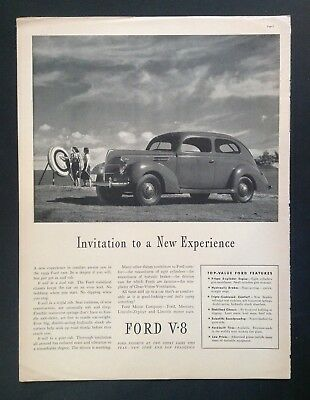 1939 Antique Automobile Magazine Ad ~ Vintage Ford V-8