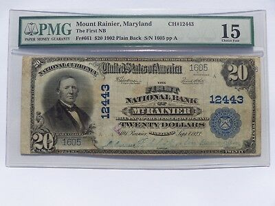 1902 Pb $20 Mount Rainier Maryland National Ch#12443 Pmg Choice Fine15 Must See!