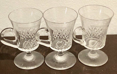 Pall Mall Glasses Lady Hamilton Three(3) Custard Cups Edwardian Etched Crystal