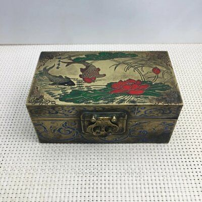 Chinese old Copper hand Carved  Fish and lotus flower Storage Jewelry Box d02